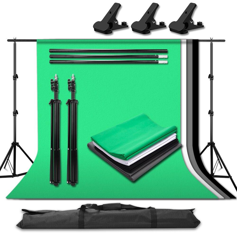 Photo Studio Portable Adjustable Background Support Stand Kit Set 4Pcs 1.6x3M Photography Background Backdrops Cloth 3pcs Clamp